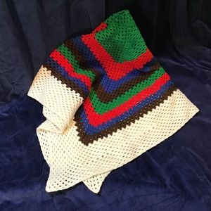 "Hand knitted blanket/throw, colorful, 60"" x 60""EUC"